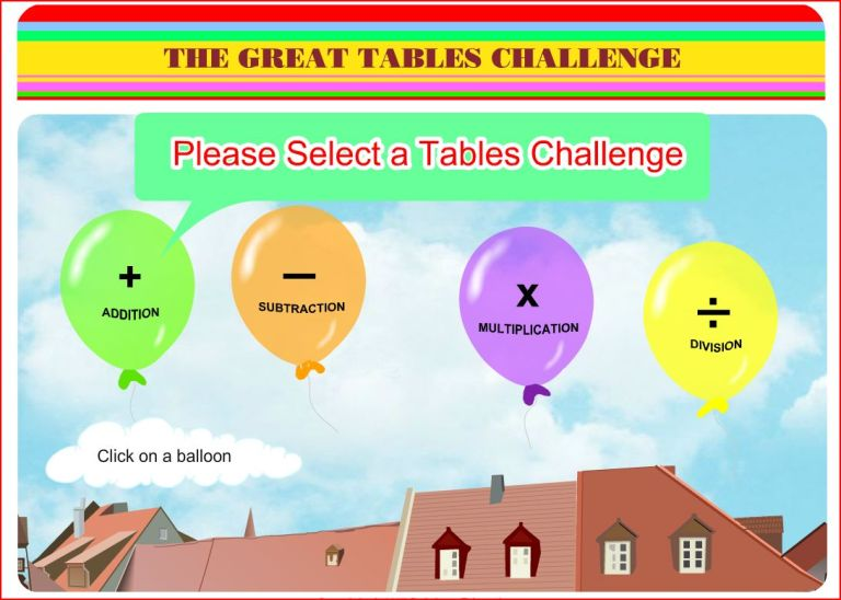 Click here to access Tables Challenge game (via TheSchoolHub.ie)