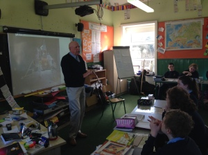 Jack Devaney talking to 5th & 6th class, Craggagh NS